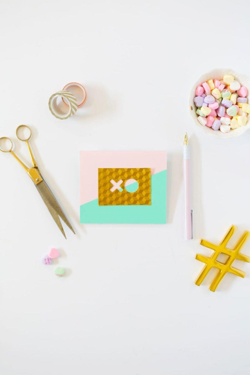 "<p>Tired of the traditional pink and red heart Valentine's Day Cards? For a fresh, modern take on Valentines, try these XO pop-up cards featuring a lovely gold, mint green, and blush pink color palette.</p><p><strong>See more at <a href=""https://lovelyindeed.com/diy-modern-valentine-pop-cards/"" rel=""nofollow noopener"" target=""_blank"" data-ylk=""slk:Lovely Indeed"" class=""link rapid-noclick-resp"">Lovely Indeed</a>. </strong></p><p><a class=""link rapid-noclick-resp"" href=""https://go.redirectingat.com?id=74968X1596630&url=https%3A%2F%2Fwww.walmart.com%2Fip%2FColorbok-12-Smooth-Cardstock-Pastel-Pad%2F36969951&sref=https%3A%2F%2Fwww.thepioneerwoman.com%2Fhome-lifestyle%2Fcrafts-diy%2Fg35084525%2Fdiy-valentines-day-cards%2F"" rel=""nofollow noopener"" target=""_blank"" data-ylk=""slk:SHOP PASTEL CARD STOCK"">SHOP PASTEL CARD STOCK</a></p>"
