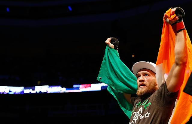 BOSTON, MA - AUGUST 17: Conor McGregor celebrates following his win against Max Holloway in their featherweight bout at TD Garden on August 17, 2013 in Boston, Massachusetts. (Photo by Jared Wickerham/Getty Images)