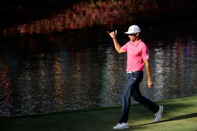PONTE VEDRA BEACH, FL – MAY 14: Rafa Cabrera Bello of Spain reacts to his birdie on the 17th green during the final round of THE PLAYERS Championship at the Stadium course at TPC Sawgrass on May 14, 2017 in Ponte Vedra Beach, Florida. (Photo by Andy Lyons/Getty Images)