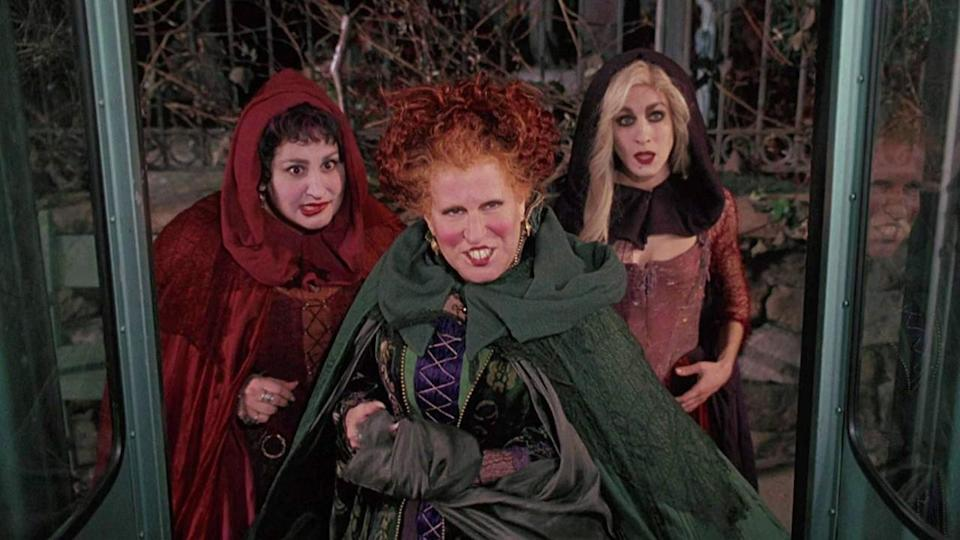 <p> To live forever, witches must harvest young people – a gruesome concept that Hocus Pocus plays with. Bette Midler, Sarah Jessica Parker, and Kathy Najimy play the conniving, bickering Sanderson sisters, 300-year-old witches looking to capture some youths to remain young and, erm, beautiful. They've spent hundreds of years trapped in the afterlife before being inadvertently unleashed by the new-in-town virgin on All Hallow's Eve, and they're looking to return to the glory of their younger years. </p> <p> The Sanderson sisters are the beating black heart of the film – Midler's overconfidence and buck teeth, Parker's aloof sex appeal on two left feet, Najimy's over-the-top goofiness. Hocus Pocus is campy and sickly sweet. There's even a magical musical number which you won't be able to get out of your head. </p>