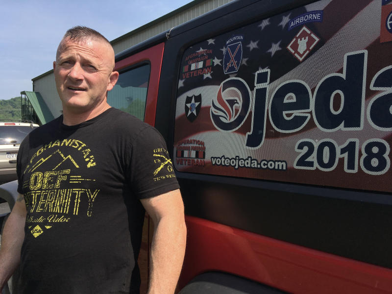 FILE - In this Tuesday, May 15, 2018 file photo, Richard Ojeda talks outside his campaign headquarters in Logan, W.Va. Former Army Maj. Richard Ojeda says his West Virginia congressional campaign was derailed by a Department of Veterans Affairs employee who's charged with leaking medical records. The former Democratic state senator and one-time presidential hopeful filed suit against the VA on Thursday, Aug. 22, 2019. (AP Photo/John Raby, File)