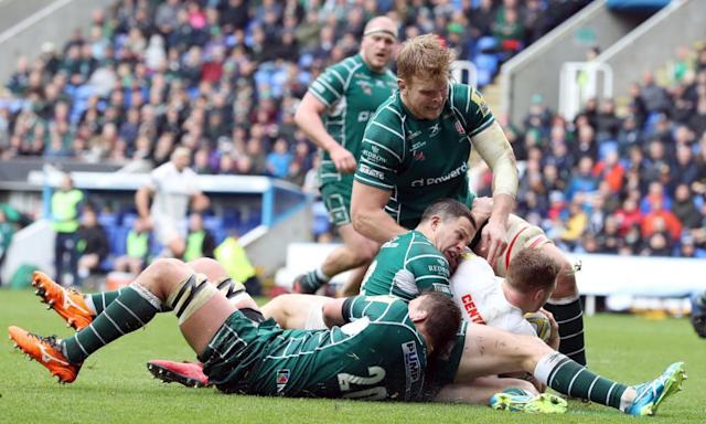 <span>Sam Simmonds goes over to score his third try for Exeter Chiefs in their 45-5 win over London Irish at the Madejski Stadium.</span> <span>Photograph: Andrew Matthews/PA</span>