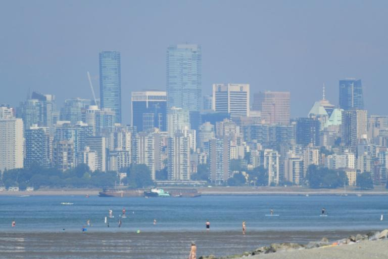 The city of Vancouver is seen through haze on a scorching hot day Tuesday