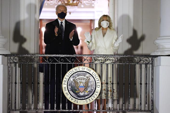 <p>President Biden and first lady Jill Biden watch a fireworks show on the National Mall</p> (Getty Images)