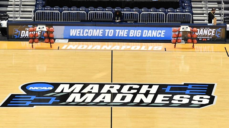 General view inside arena during 2021 NCAA Tournament with March Madness logo