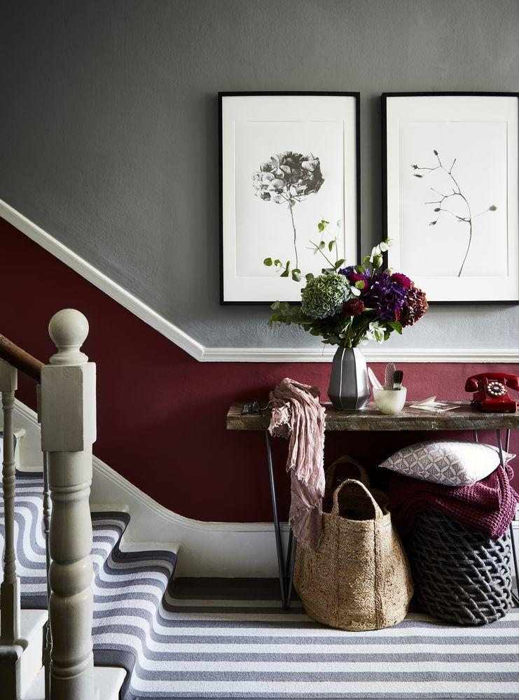 <p>Bring together a glorious medley of raspberry, mulberry and blackcurrant shades for a chic and cosy scheme. Paired with a classic grey stripe carpet runner, this hallway is the ultimate recipe for an inviting space. </p>