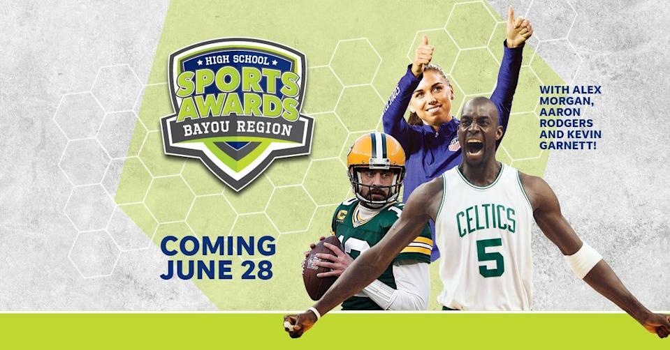 NBA Champion and MVP Kevin Garnett joins celebrity athletes, including Alex Morgan and Aaron Rodgers, announcing the winners of the Bayou Region High School Sports Awards.