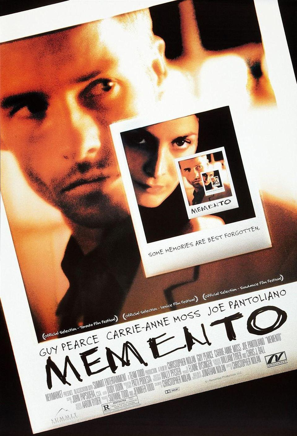 "<p>Can't resist a good mind-bending flick? Christopher Nolan's <em>Memento</em> is a must-watch, not only for its gripping mystery but for its truly innovative plot involving a man with short-term memory loss (Guy Pearce) who attempts to track down his wife's killer. <br></p><p><a class=""link rapid-noclick-resp"" href=""https://www.amazon.com/Memento-Guy-Pearce/dp/B0763T3HC6?tag=syn-yahoo-20&ascsubtag=%5Bartid%7C10055.g.34396232%5Bsrc%7Cyahoo-us"" rel=""nofollow noopener"" target=""_blank"" data-ylk=""slk:WATCH ON AMAZON"">WATCH ON AMAZON</a></p>"