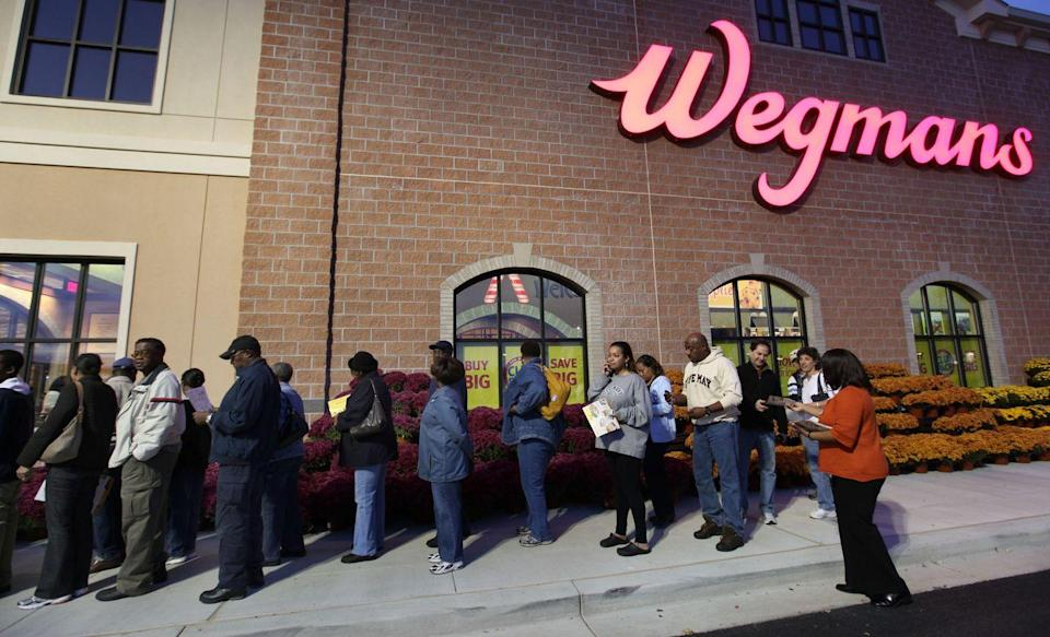 """<p>Wegmans is an East Cost chain, with less than 100 locations. Their popularity means that every new location causes a big stir, not only for customers, but for potential employees. According to <em><a href=""""https://www.bizjournals.com/philadelphia/news/2013/10/23/getting-a-job-at-wegmans-no-easy-task.html?ana=twt"""" rel=""""nofollow noopener"""" target=""""_blank"""" data-ylk=""""slk:Philadelphia Business Journal,"""" class=""""link rapid-noclick-resp"""">Philadelphia Business Journal,</a></em> a new location that opened in Montgomeryville, Pennsylvania in 2013 received 10,000 applications with only 500 available slots.</p>"""