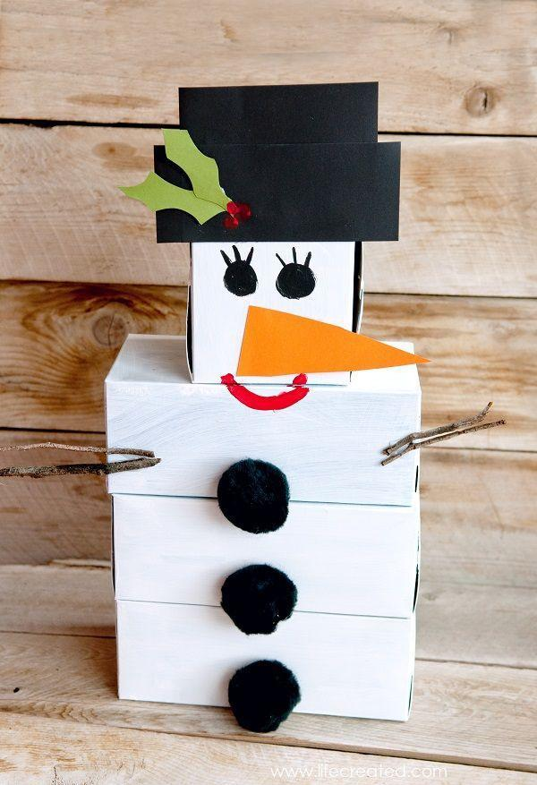 "<p>Save a stack of uniform-sized containers, like tissue boxes or shipping packages, then paint them like a snowman and add a paper hat and nose, painted features and some other accessories. Grab a ball and you're ready to bowl! The kids will have a blast putting it together, and you can recycle some of that holiday packaging. </p><p><em><a href=""http://www.craftaholicsanonymous.net/diy-snowman-bowling-game"" rel=""nofollow noopener"" target=""_blank"" data-ylk=""slk:Get the tutorial at Craftaholics Anonymous »"" class=""link rapid-noclick-resp"">Get the tutorial at Craftaholics Anonymous »</a></em><br></p>"