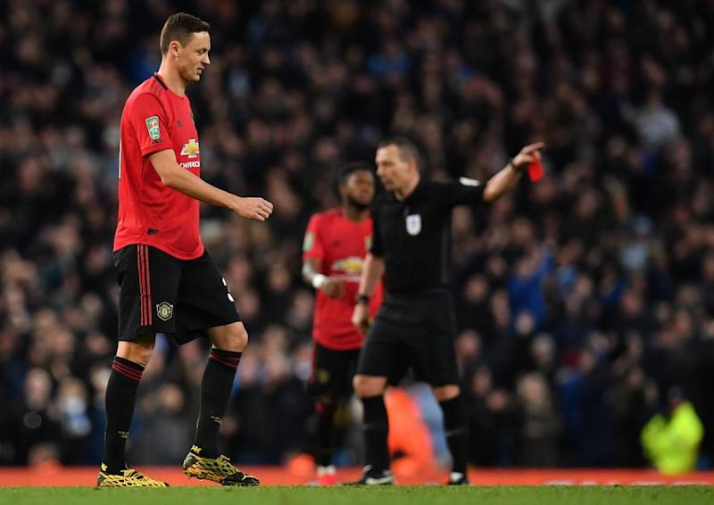 Nemanja Matic is sent off for a second yellow card in the 76th minute.