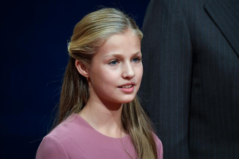 OVIEDO, SPAIN - OCTOBER 18: Princess Leonor of Spain attends several audiences to congratulate the winners at the Reconquista Hotel during the 'Princesa De Asturias' Awards 2019 on October 18, 2019 in Oviedo, Spain. (Photo by Carlos R. Alvarez/WireImage)