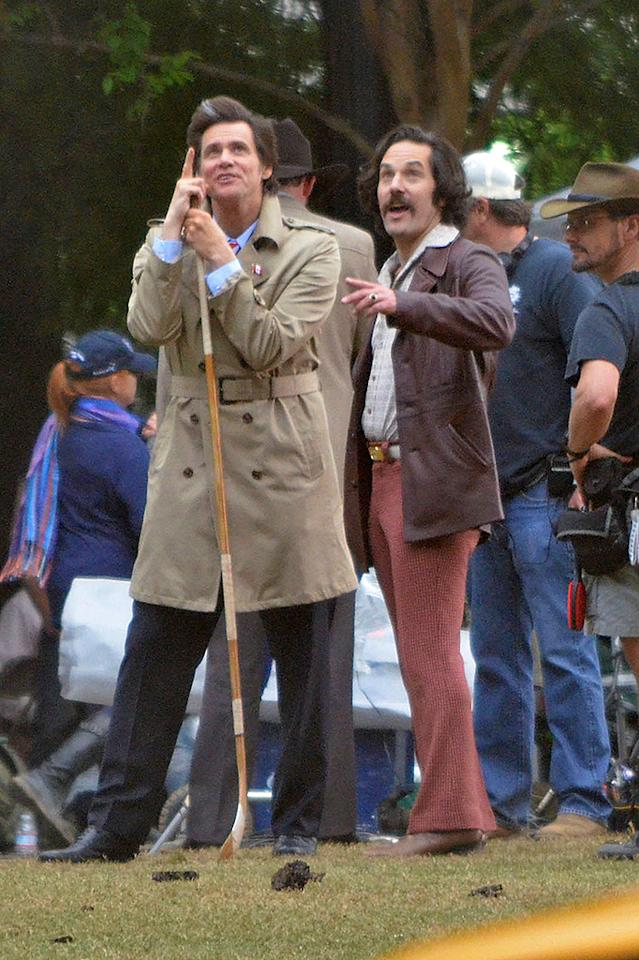 **EXCLUSIVE** HEADS UP! Jim Carrey and Paul Rudd hit the news anchor battle field for a war with hockey pucks on the set of 'Anchorman 2' in Atlanta