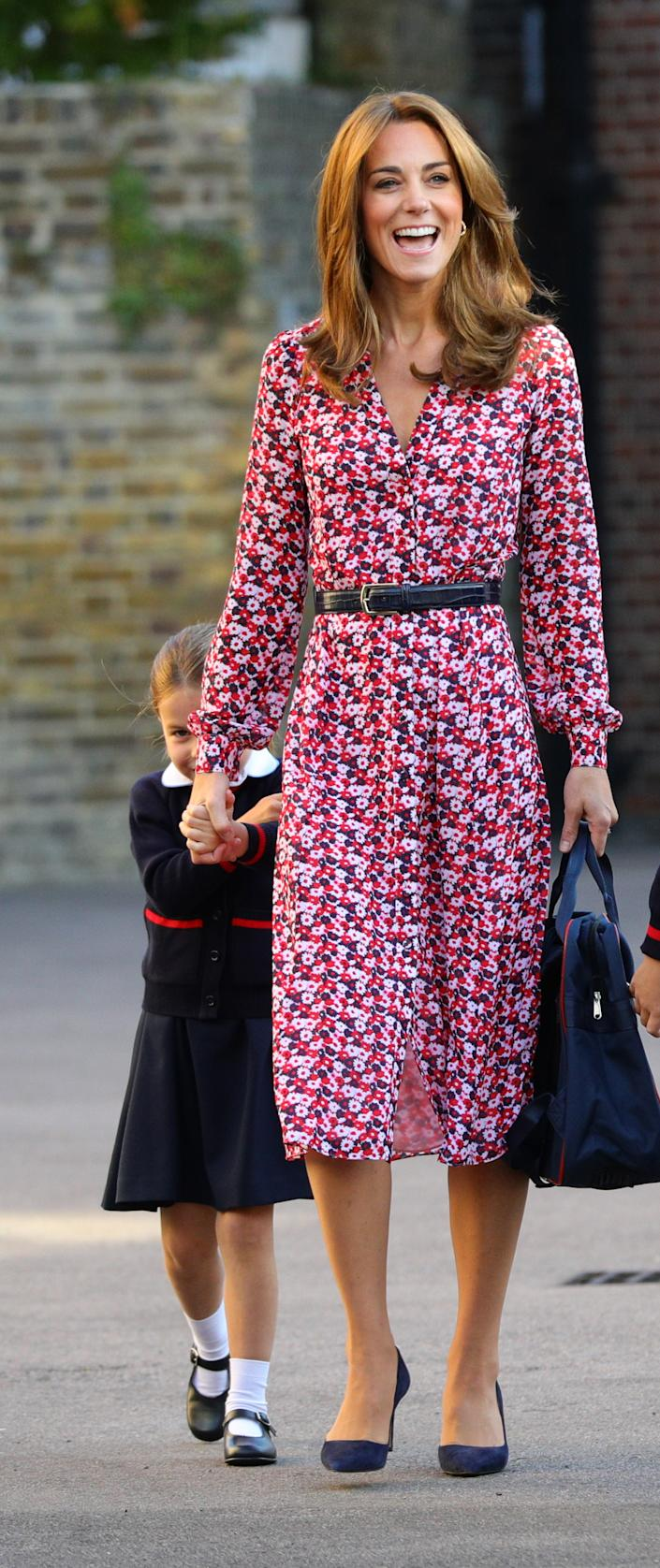 The Duchess of Cambridge wore a statement Michael Kors dress for the school drop-off [Photo: Getty]