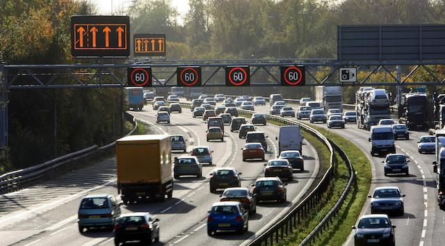 Traffic uses the hard shoulder of the M42 near Solihull. Major new multimillion-pound road schemes were announced today by Transport Secretary Philip Hammond. He gave details of eight motorway schemes including one to allow motorists to drive on the hard shoulder of two sections of the M25 at peak times.