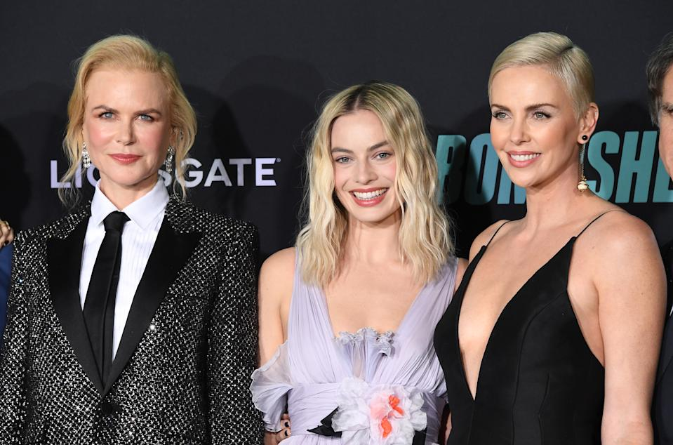 """WESTWOOD, CALIFORNIA - DECEMBER 10: Nicole Kidman, Margot Robbie and Charlize Theron arrives at the Special Screening Of Liongate's """"Bombshell"""" at Regency Village Theatre on December 10, 2019 in Westwood, California. (Photo by Steve Granitz/WireImage)"""