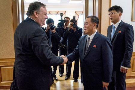 Mike Pompeo meets with Kim Yong Chol for a second day of talks at the Park Hwa Guest House in Pyongyang North Korea