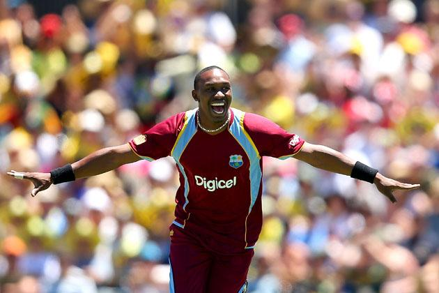 PERTH, AUSTRALIA - FEBRUARY 03: Dwayne Bravo of the West Indies celebrates the wicket of Michael Clarke of Australia during game two of the Commonwealth Bank One Day International Series between Australia and the West Indies at WACA on February 3, 2013 in Perth, Australia.  (Photo by Paul Kane/Getty Images)