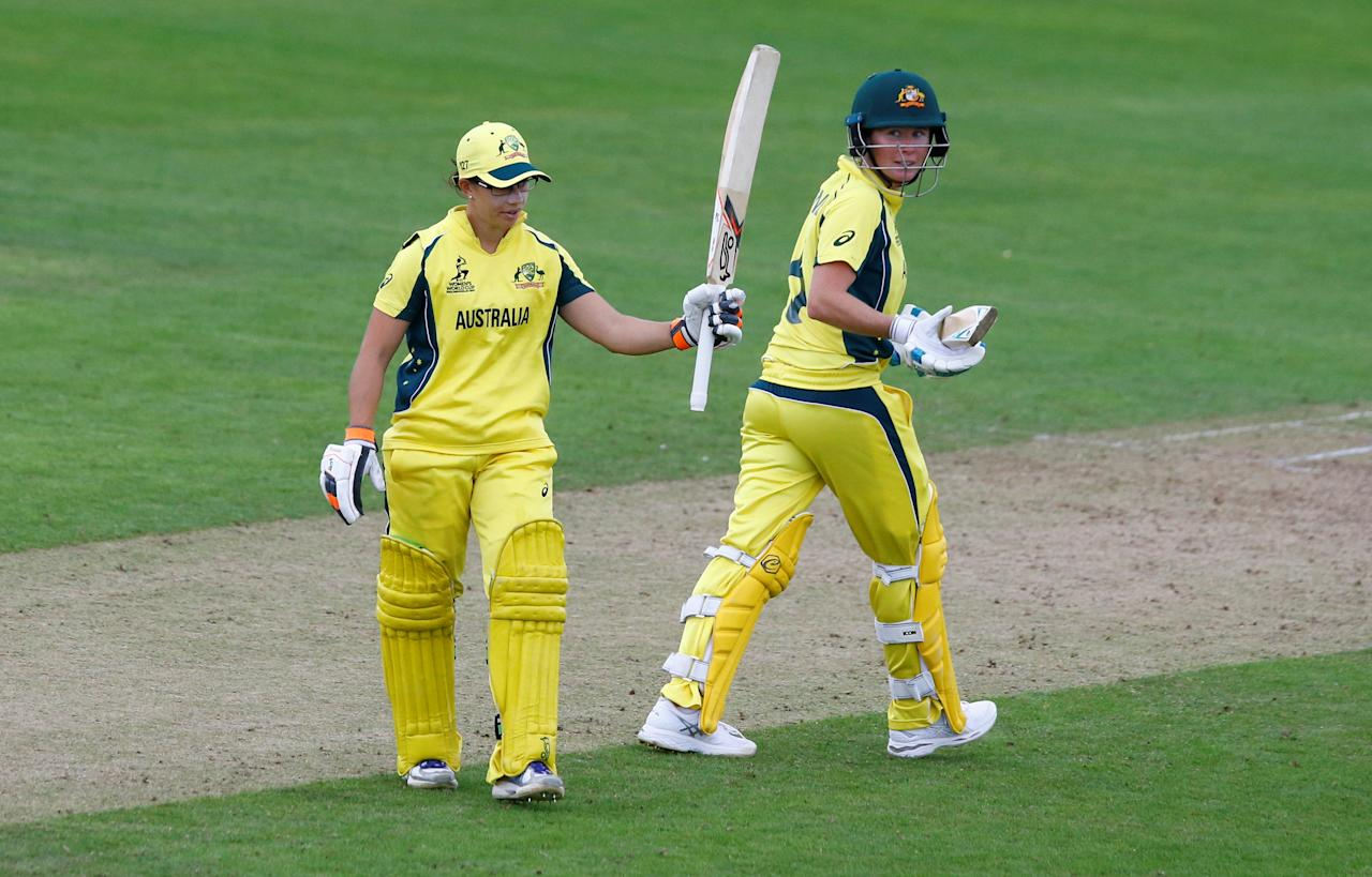 Cricket - Australia vs West Indies - Women's Cricket World Cup - The Cooper Associates County Ground, Taunton, Britain - June 26, 2017   Australia's Nicole Bolton celebrates reaching her half century as Beth Mooney (R) looks on   Action Images via Reuters/Peter Cziborra