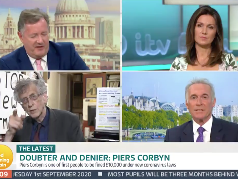 Piers Morgan appeared on ITV after being fined £10,000 for his role in organising an anti-lockdown protest: Good Morning Britain screengrab