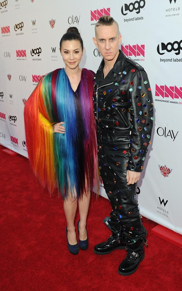 China Chow and fashion designer Jeremy Scott arrive at LOGO's NewNowNext Awards at Avalon on April 5, 2012 in Hollywood, California.