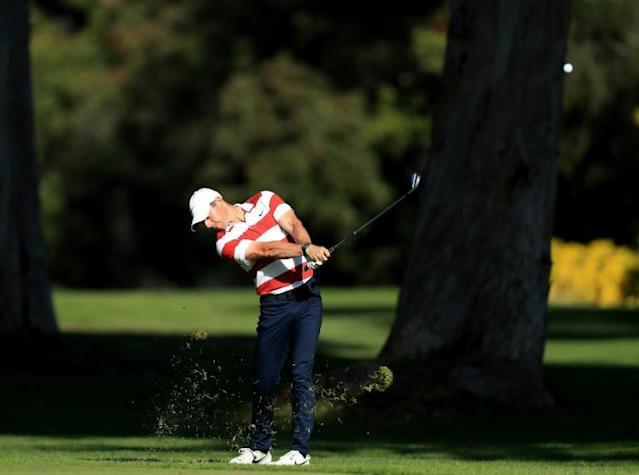 Northern Ireland's world number one Rory McIlroy is two shots off the lead heading into the third round of the US PGA Tour Genesis Invitational at Riviera Country Club (AFP Photo/DAVID CANNON)