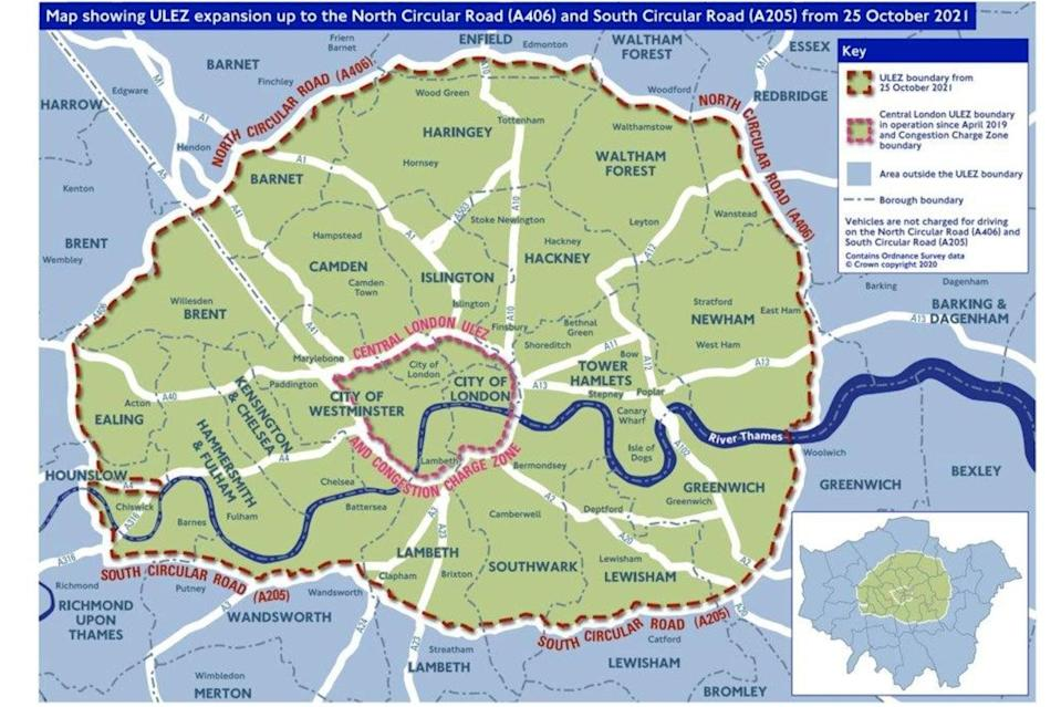 Ulez/Ulex extension map: where the daily levy will apply from October 25TfL