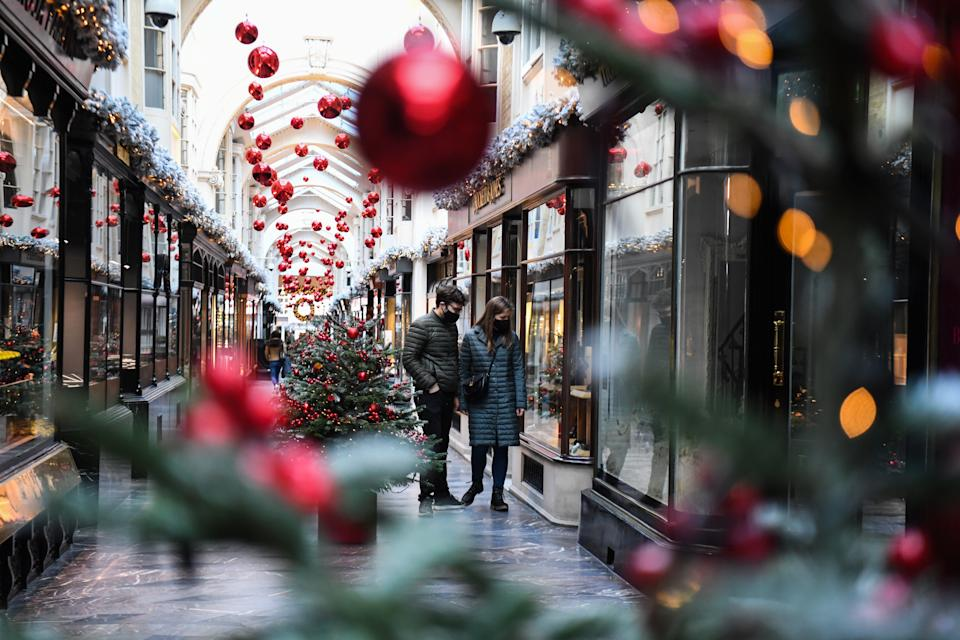 General view of a largely empty Burlington Arcade, in London, as most shops and businesses remain closed whilst England continues a four week national lockdown to curb the spread of coronavirus.