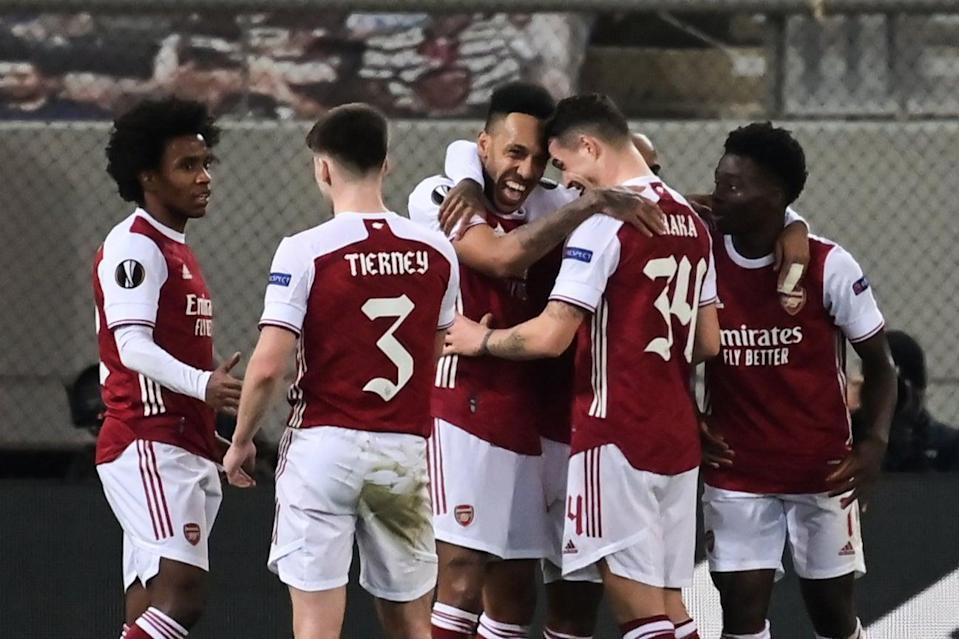 <p>Pierre-Emerick Aubameyang scored a dramatic late winner for Arsenal in Athens</p> (AFP via Getty Images)