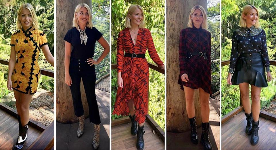 Holly Willoughby (pictured in a number of her jungle looks) has received backlash for her designer-studded 'I'm A Celebrity' wardrobe. [Photos: Instagram]