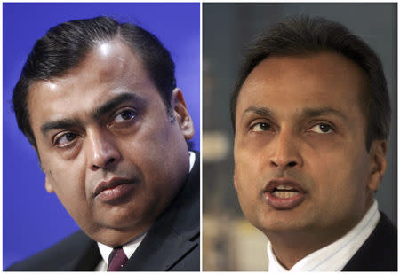 FILE PHOTO: Mukesh Ambani (L), chief of India's Reliance Industries, and Anil Ambani, chairman of Reliance Communications, are pictured in this combination image of file photos.  REUTERS/Denis Balibouse/Adeel Halim