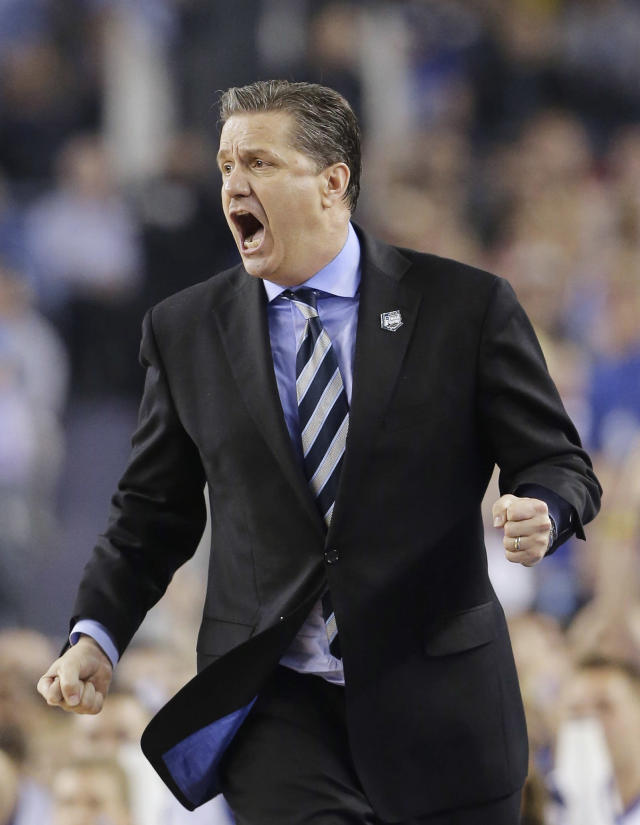 Kentucky head coach John Calipari works the sideline against Connecticut during the second half of the NCAA Final Four tournament college basketball championship game Monday, April 7, 2014, in Arlington, Texas. (AP Photo/Eric Gay)