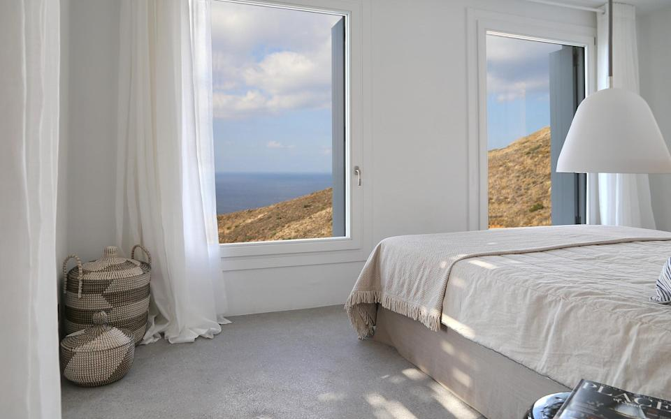 A bedroom at Syros IK on the island of Syros
