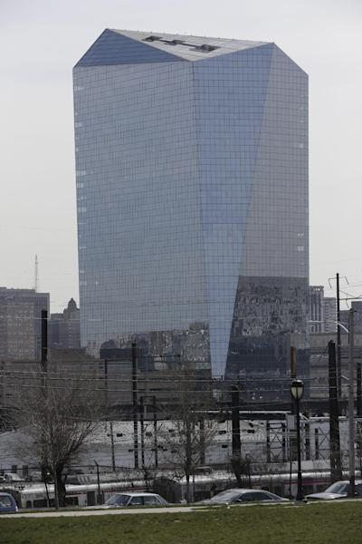Shown is the Cira Centre on Thursday, April 4, 2013, in Philadelphia. The classic Atari video game will come to life on the facade of the 29-story skyscraper. Hundreds of built-in LED lights at the Cira Centre will replicate the familiar paddles and ball. The effort is the brainchild of Frank Lee, a Drexel University game-design professor. Pong will be played April 19 and 24, to bookend an event called Philly Tech Week. (AP Photo/Matt Rourke)