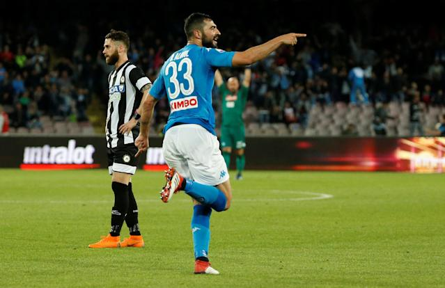 Soccer Football - Serie A - Napoli vs Udinese Calcio - Stadio San Paolo, Naples, Italy - April 18, 2018 Napoli's Raul Albiol celebrates scoring their second goal REUTERS/Ciro De Luca