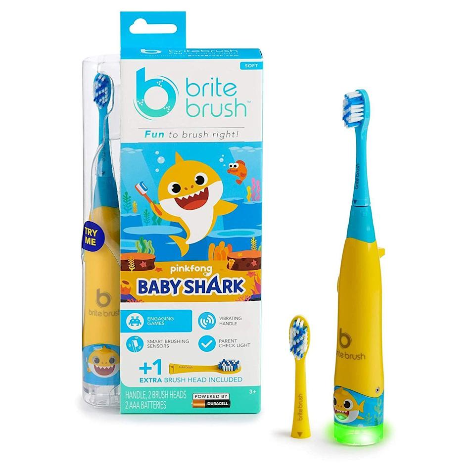"""<p><strong>BriteBrush</strong></p><p>amazon.com</p><p><strong>$19.96</strong></p><p><a href=""""https://www.amazon.com/dp/B07VLL8QH4?th=1&tag=syn-yahoo-20&ascsubtag=%5Bartid%7C2089.g.268%5Bsrc%7Cyahoo-us"""" rel=""""nofollow noopener"""" target=""""_blank"""" data-ylk=""""slk:Shop Now"""" class=""""link rapid-noclick-resp"""">Shop Now</a></p><p>A toothbrush as a stocking stuffer can seem like the world's lamest kid's gift, but the BriteBrush is anything but boring. Preloaded with interactive games, your child can unlock new levels as they brush. To gain points and discover all seven of the fun games, your little one has to clean their chompers regularly and efficiently. </p><p>With replaceable heads and a light indicator at the bottom to confirm that your child has done a good job, keeping their oral health in check will be a lot more fun.</p>"""