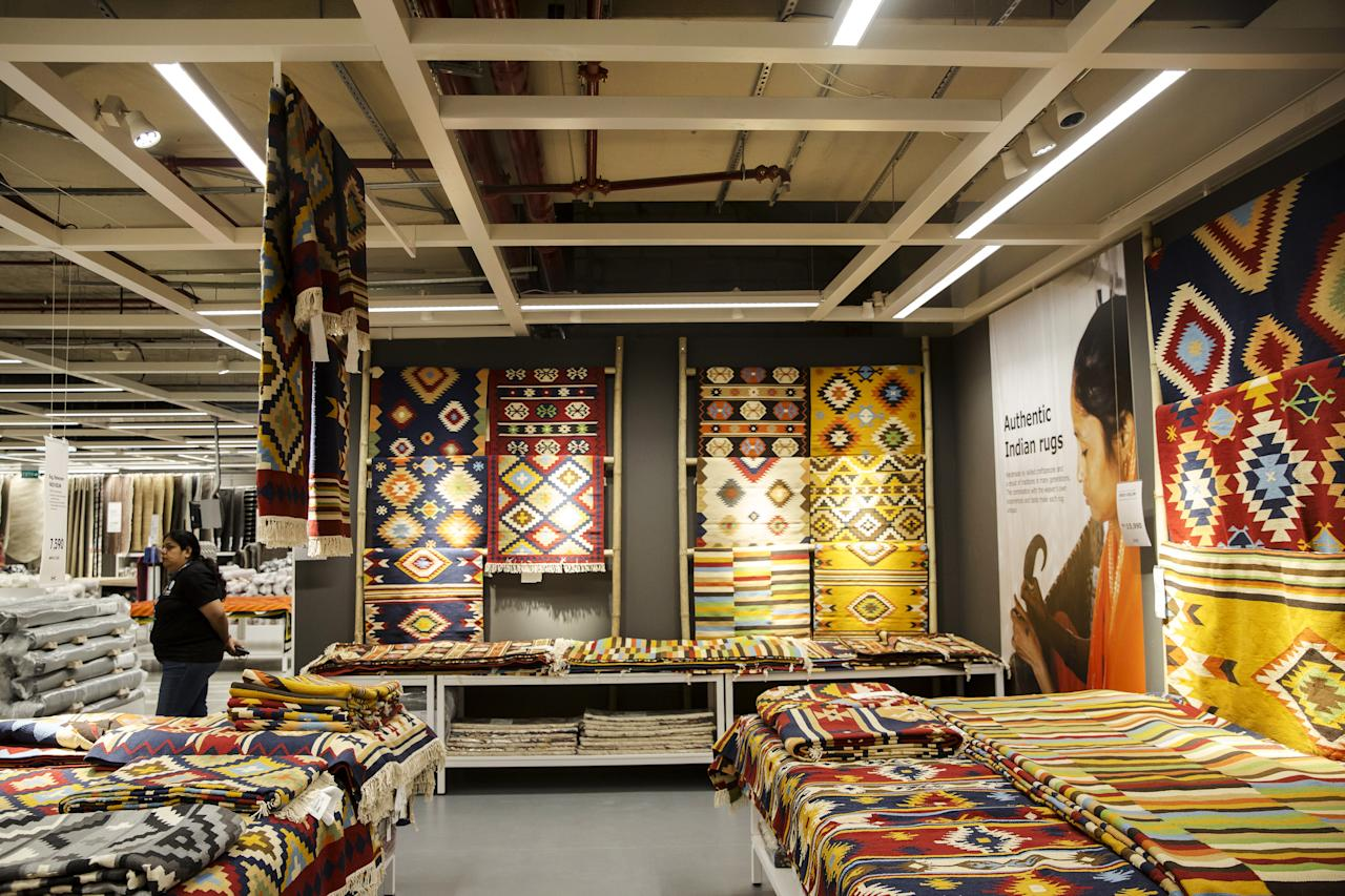 <p>Rugs are displayed inside the Ikea store in Hitech City on the outskirts of Hyderabad, India, on Thursday, Aug. 9, 2018. Ikea's blue-and-yellow stores are instantly recognizable: iconic, monolithic and now, as India's first store throws open its doors to the masses today, operating in more than 400 stores in some 50 countries. Photo: Udit Kulshrestha/Bloomberg via Getty Images </p>