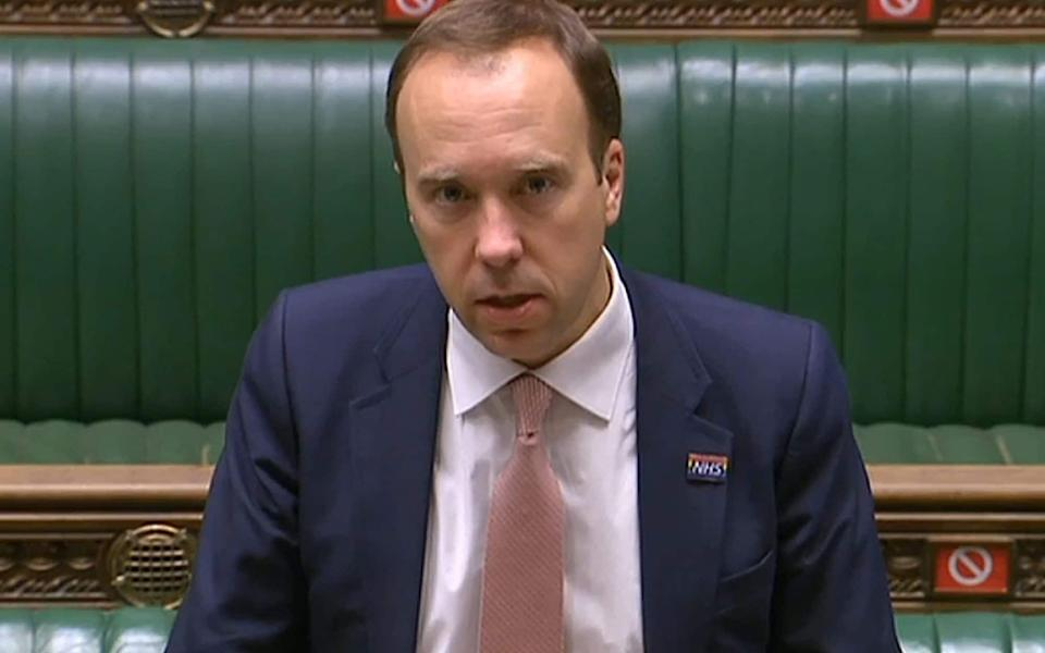 A video grab from footage broadcast by the UK Parliament's Parliamentary Recording Unit (PRU) shows Britain's Health Secretary Matt Hancock making a statement on Covid-19 restrictions in the House of Commons in London on October 15, 2020 - AFP via Getty Images