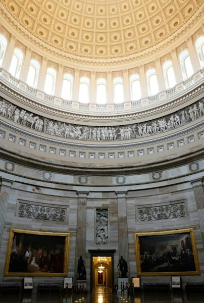 Photographers had the historic Rotunda, often clogged with tour groups, to themselves on March 19, 2020