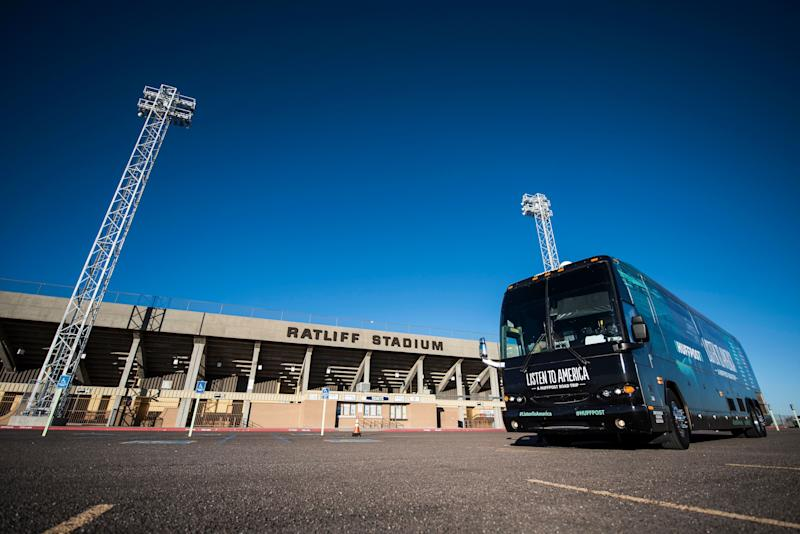 "The HuffPost tour bus sits in front of Ratliff Stadium during a visit to Odessa, Texas, on Oct. 25, 2017, as part of ""Listen To America: A HuffPost Road Trip."" HuffPost will visit more than 20 cities on its tour across the country. (Photo by Damon Dahlen/HuffPost) *** Local Caption ***"