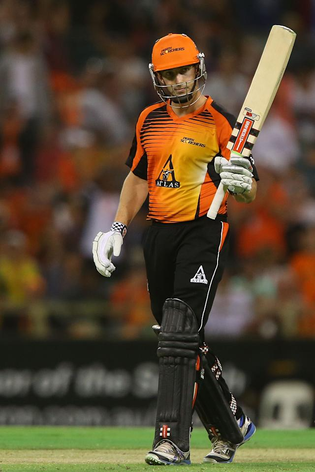 PERTH, AUSTRALIA - JANUARY 04: Shaun Marsh of the Scorchers celebrates his half century during the Big Bash League match between the Perth Scorchers and the Sydney Thunder at WACA on January 4, 2013 in Perth, Australia.  (Photo by Paul Kane/Getty Images)