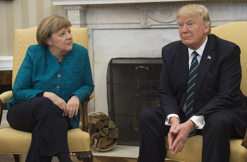 """Competition enlivens things,"" said Angela Merkel of the Schulz challenge a day after holding her first meeting with US President Donald Trump (AFP Photo/SAUL LOEB)"
