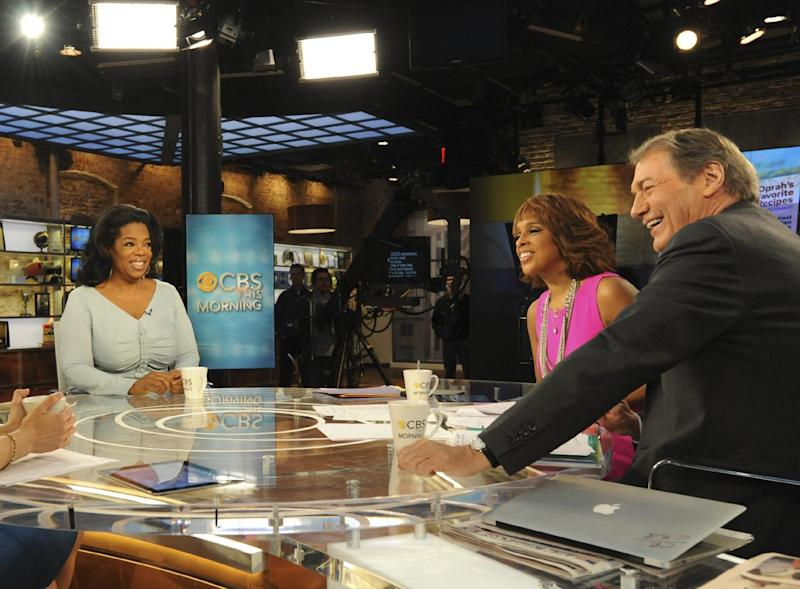 "In this image released by CBS, Oprah Winfrey, left, appears on ""CBS This Morning,"" with co-hosts Gayle King and Charlie Rose, right, Monday, April 2, 2012 in New York. Winfrey says she still has faith in her troubled cable network. Appearing on the morning show, Winfrey told King that she believes the Oprah Winfrey Network will fulfill its mission of transforming viewers' lives. But if viewers don't respond, Winfrey says: ""I will move on to the next thing."" OWN has struggled to build an audience since its launch in January 2011. (AP Photo/CBS, Heather Wines)"