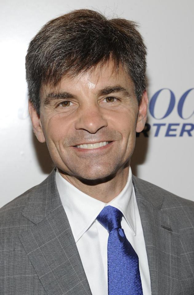 COMMERCIAL IMAGE In this photograph taken by AP Images for The Hollywood Reporter George Stephanopoulos arrives at The Hollywood Reporter 35 Most Powerful People in Media event on Wednesday, April 11, 2012 in New York. (Evan Agostini/AP Images for The Hollywood Reporter)