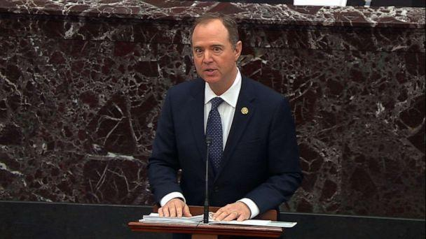 PHOTO: Lead House Manager REp. Adam Schiff delivers his opening argument in the impeachment trial against President Donald Trump, Jan. 22, 2020, at the Capitol. (ABC News)