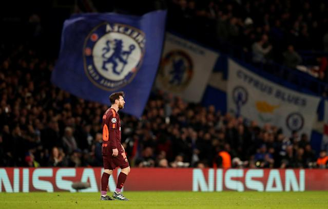 Soccer Football - Champions League Round of 16 First Leg - Chelsea vs FC Barcelona - Stamford Bridge, London, Britain - February 20, 2018 Barcelona's Lionel Messi looks dejected after Chelsea's Willian scored their first goal Action Images via Reuters/Andrew Boyers TPX IMAGES OF THE DAY