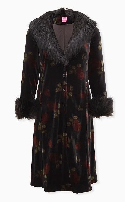 Floral Fur Trim Velvet Coat (Photo via Torrid)