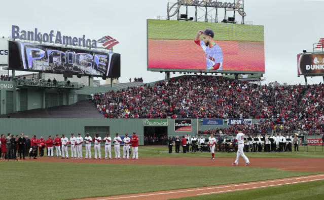 Boston Red Sox's David Price is introduced as he joins teammates on the field for a ceremony before the home opener baseball game between the Red Sox and the Toronto Blue Jays, Tuesday, April 9, 2019, in Boston. (AP Photo/Charles Krupa)