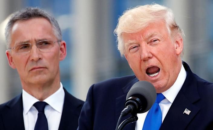 <p>President Donald Trump (R) speaks beside NATO Secretary General Jens Stoltenberg at the start of the NATO summit at their new headquarters in Brussels, Belgium, May 25, 2017. (Photo: Christian Hartmann/Reuters) </p>