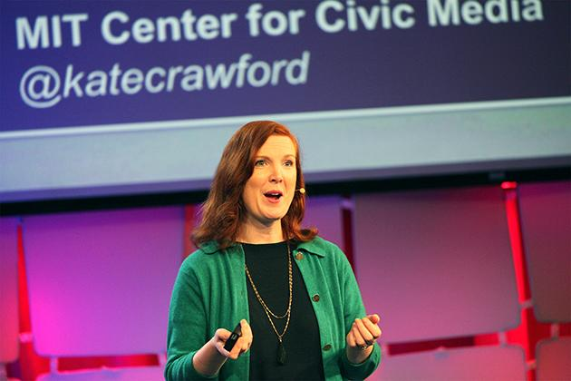 Kate Crawford speaking at MIT Media Lab. (Photo: Siemond Chan)